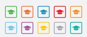Graduation cap sign icon. Higher education symbol. Round squares buttons with frame. Vector